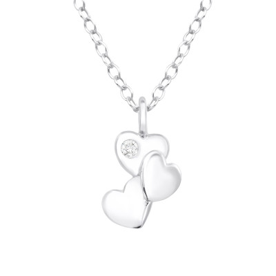 Silver Triple Heart Necklace with Cubic Zirconia