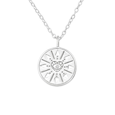 Silver Symbol Necklace with Cubic Zirconia