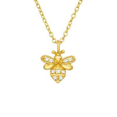 Silver Bee Necklace with Cubic Zirconia