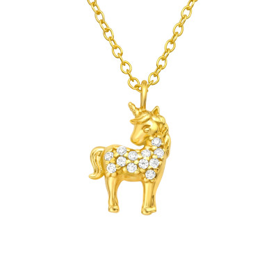 Silver Unicorn Necklace with Cubic Zirconia