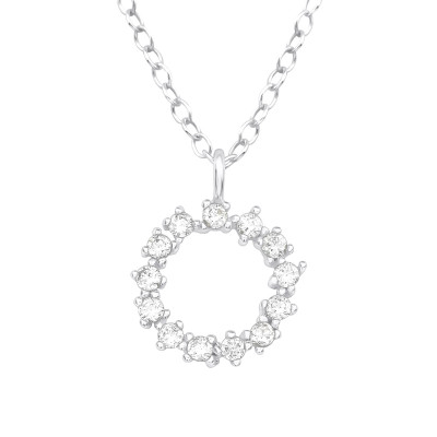 Silver Sparking Necklace with Cubic Zirconia