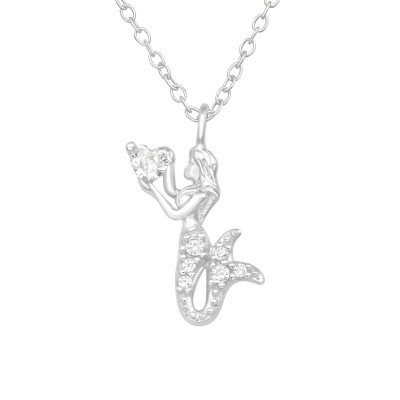 Silver Mermaid Necklace with Cubic Zirconia