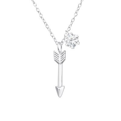 Silver Arrow Necklace with Cubic Zirconia