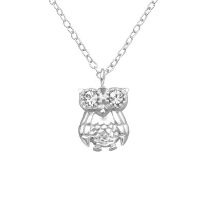 Silver Owl Necklace with Crystal