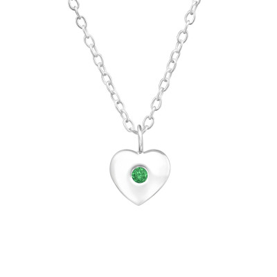 Silver Birthstone Heart Necklace with Cubic Zirconia