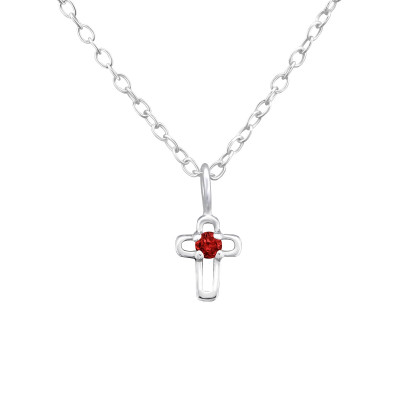 Silver Birthstone Cross Necklace with Cubic Zirconia
