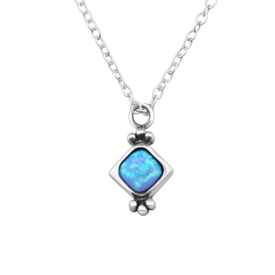 Silver Square Necklace with Opal