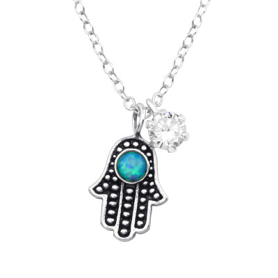 Silver Hamsa Necklace with Cubic Zirconia and Synthetic Opal
