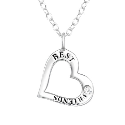 Silver Heart Necklace with Crystal