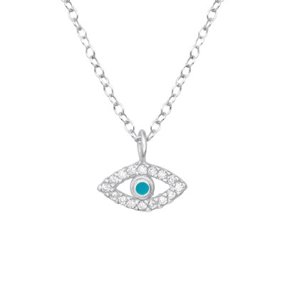 Silver Evil Eye Necklace with Cubic Zirconia and Epoxy