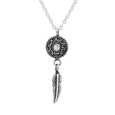 Silver Ethnic Necklace with Crystal