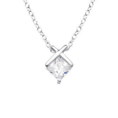 Silver Geometic Necklace with Cubic Zirconia