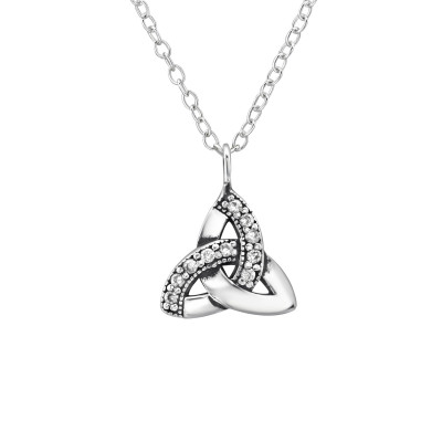 Silver Celtic Knot Necklace with Cubic Zirconia