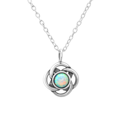 Silver Flower Necklace with Synthetic Opal