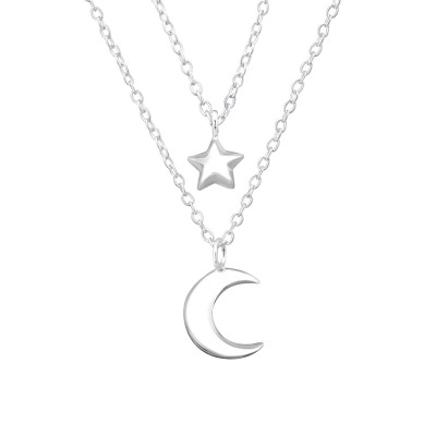 Silver Moon and Star Layer Necklace