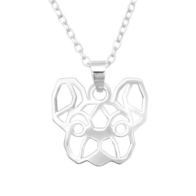 Silver Laser Cut Dog Necklace
