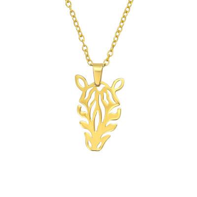 Silver Laser Cut Zebra Necklace