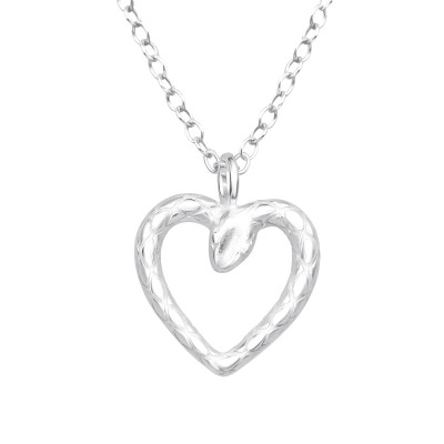 Silver Heart-Shaped Snake Necklace