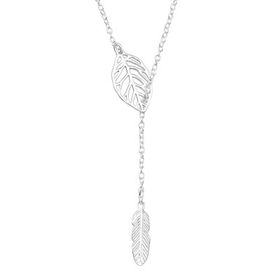 Silver Leaf Feather Y Necklace