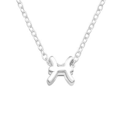 Silver Pisces Zodiac Sign Necklace