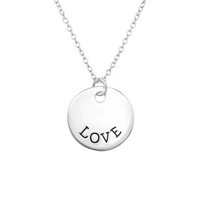 Silver LOVE Tag Necklace