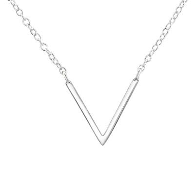 V Shaped Sterling Silver Necklace