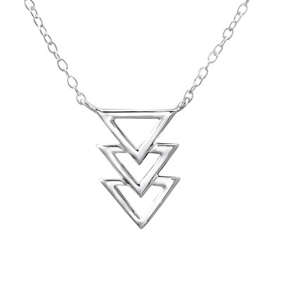 Silver Triple Triangle Inline Necklace