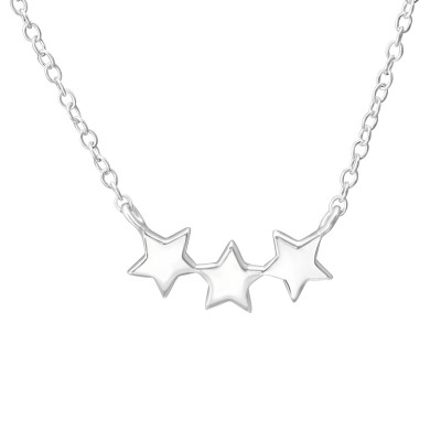 Silver Triple Star Necklace