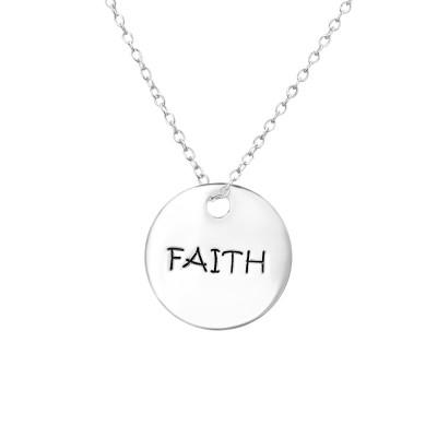 Silver FAITH Tag Necklace