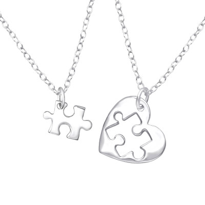 Silver Heart Puzzle Necklace