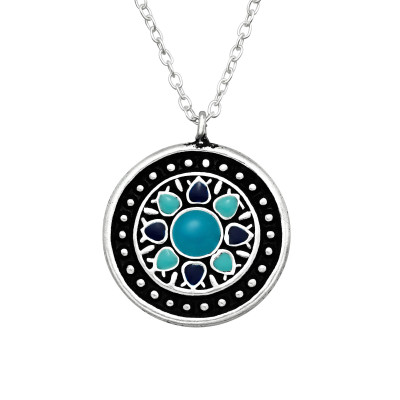 Silver Ethnic Necklace with Epoxy