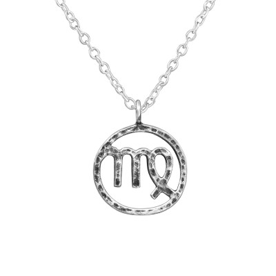 Silver Virgo Zodiac Sign Necklace