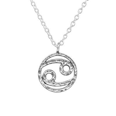 Silver Cancer Zodiac Sign Necklace