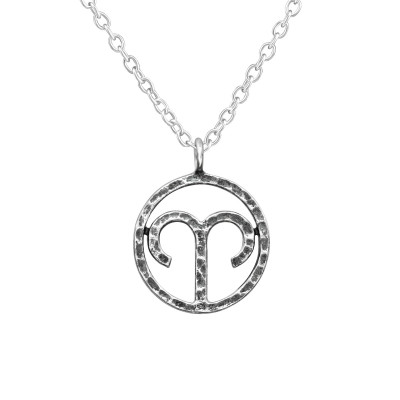 Silver Aries Zodiac Sign Necklace