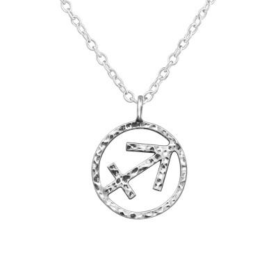 Silver Sagittarius Zodiac Sign Necklace
