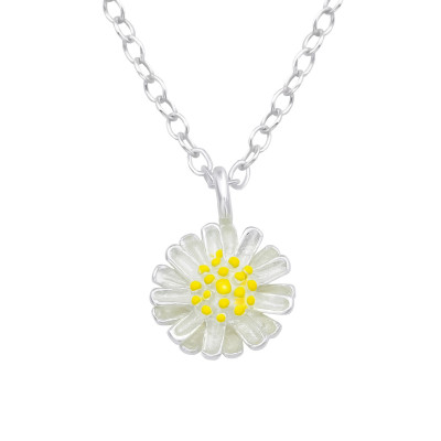 Silver Flower Necklace with Epoxy