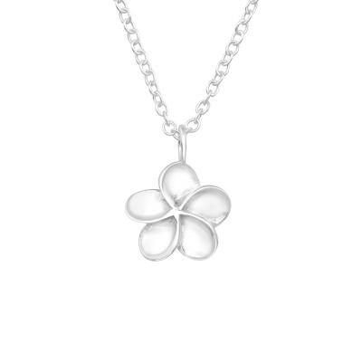 Silver Plumeria Flower Necklace