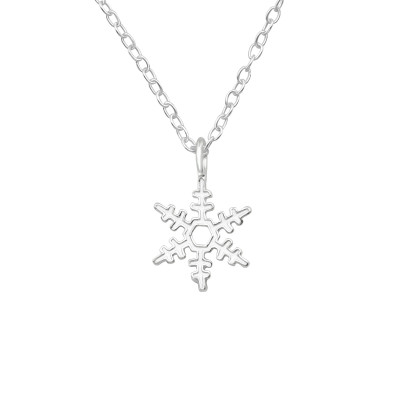 Silver Snowflake Necklace with Epoxy