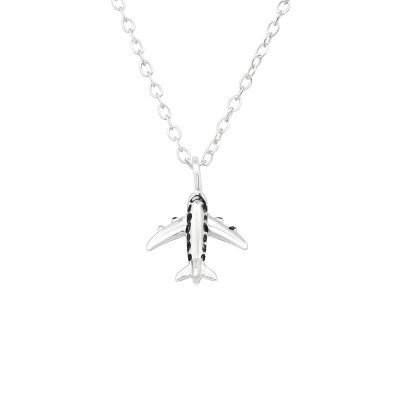 Silver Aircraft Necklace with Black Epoxy
