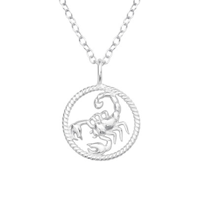Silver Scorpio Zodiac Sign Necklace