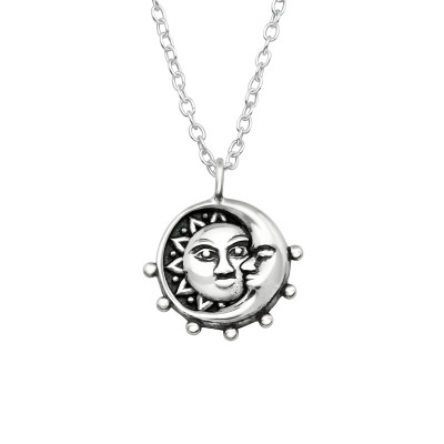 Silver Moon and Sun Necklace