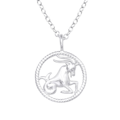 Silver Capricorn Zodiac Sign Necklace