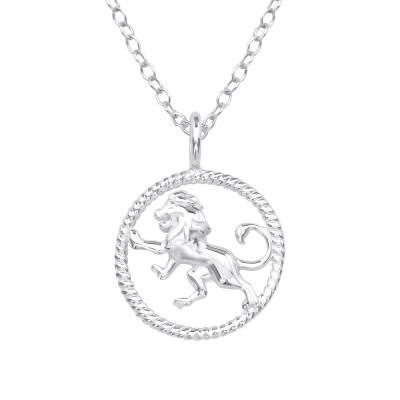 Silver Leo Zodiac Sign Necklace