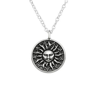 Silver Sun Face Necklace