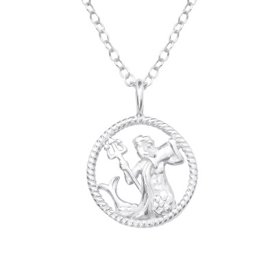 Silver Aquarius Zodiac Sign Necklace