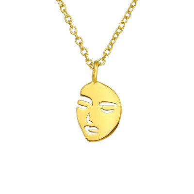 Silver Face Necklace