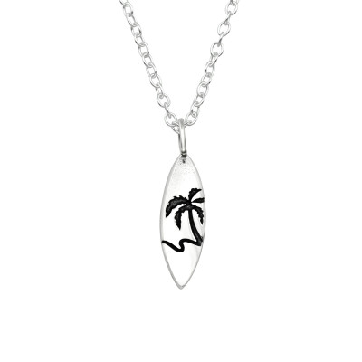 Silver Surfboard Necklace
