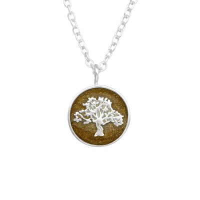Silver Tree Of Life Necklace with Epoxy