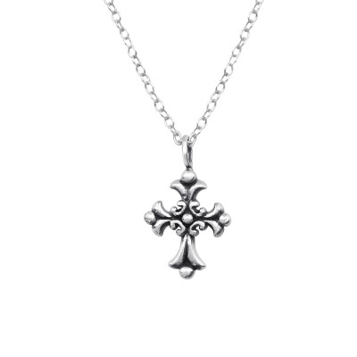 Silver Gothic Cross Necklace