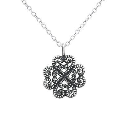 Silver Antique Flower Necklace